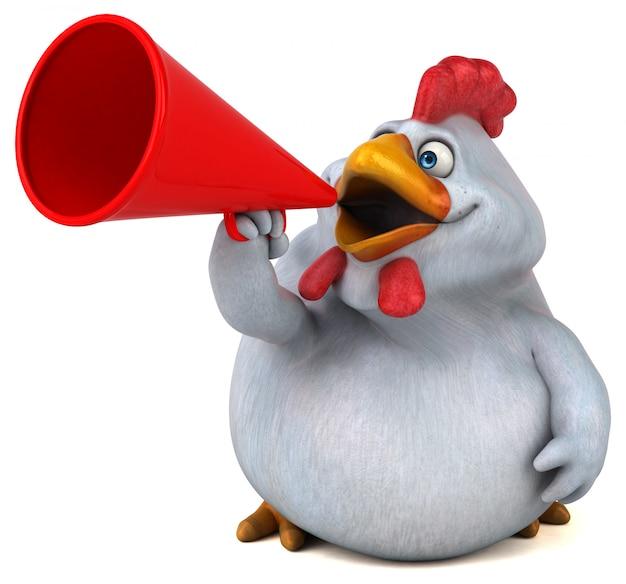 Illustration de poulet 3d drôle parler dans un mégaphone