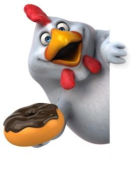 Illustration de poulet 3d drôle tenant un beignet