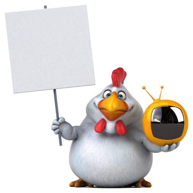 Illustration de poulet 3d drôle tenant une pancarte et une petite télévision
