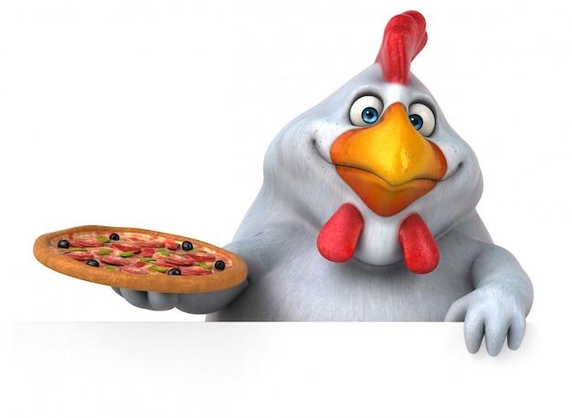 Illustration de poulet 3d drôle tenant une pizza