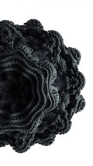 Illustration de rendu 3d d'abstraction fractale. matériel de caoutchouc d'ornement noir. forme détaillée créative pour la décoration.