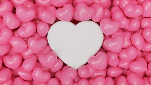 Illustration de rendu 3d de abstracton de formes coeur rose sur fond rose pour l'amour, le mariage et la saint-valentin.
