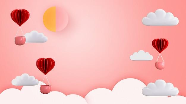 Illustration de rendu 3d de l'amour et du ballon à air chaud en forme de coeur flottant.