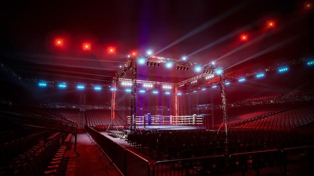Illustration de rendu 3d de l'arène de boxe vide