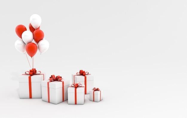 Illustration de rendu 3d de ballons et boîte-cadeau