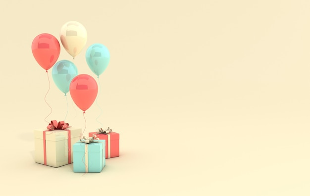 Illustration de rendu 3d de ballons coraux, verts et jaunes réalistes et boîte-cadeau avec noeud sur fond jaune