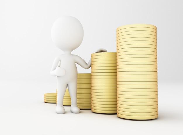 Illustration de rendu 3d. les blancs avec des piles de pièces d'or.