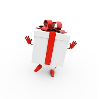 Illustration de rendu 3d d'une boîte-cadeau avec un arc rouge sur fond blanc
