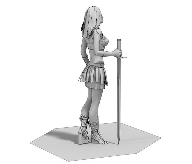 Illustration de rendu 3d de caractère femme guerrière