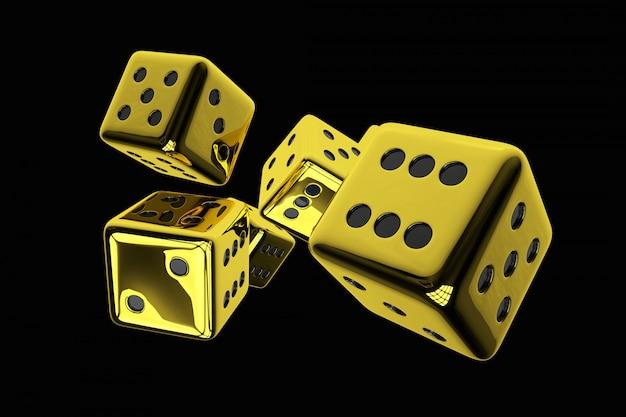 Illustration de rendu 3d de dés de casino doré brillant isolés sur fond noir uni.