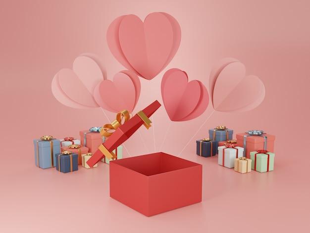 Illustration de rendu 3d de coffrets cadeaux