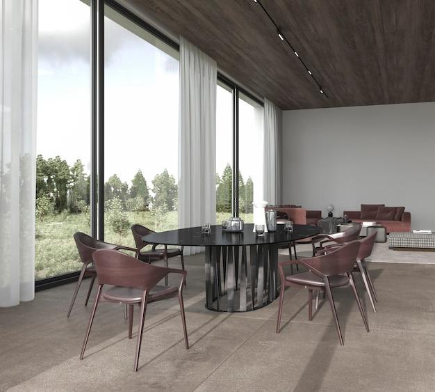 Illustration de rendu 3d design d'intérieur lumineux de luxe moderne salle à manger et salon avec vue sur la forêt.