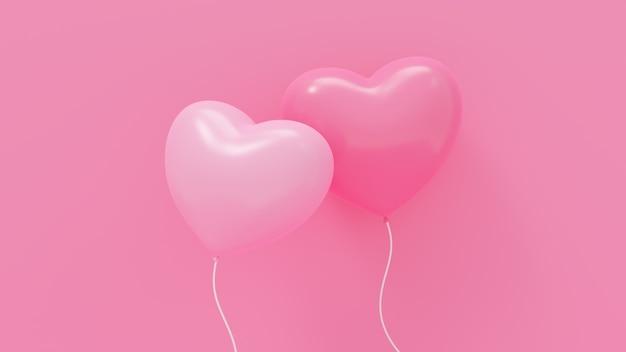 Illustration de rendu 3d du ballon coeur rose sur fond rose pour l'amour, mariage, saint valentin, anniversaire.