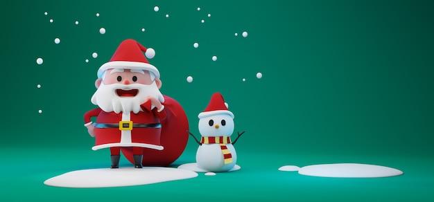 Illustration de rendu 3d du personnage du père noël transportant un sac rouge géant et un bonhomme de neige