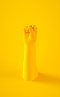 Illustration de rendu 3d du poing de la main jaune. parties du corps humain. scène de concept de puissance pour les projets de conception graphique.