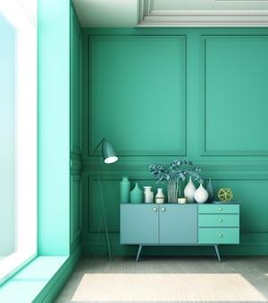 Illustration de rendu 3d du salon avec panneau mural classique et armoire basse