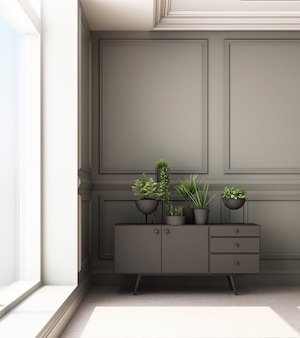 Illustration de rendu 3d du salon avec panneau mural classique de luxe et armoire basse
