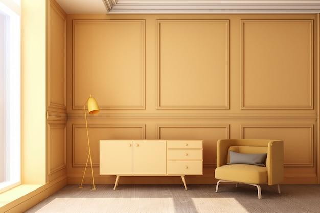 Illustration de rendu 3d du salon avec panneau mural classique de luxe jaune et meubles jaunes