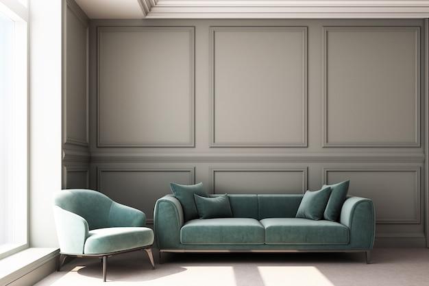Illustration de rendu 3d du salon avec panneau mural classique de luxe et meubles de salon