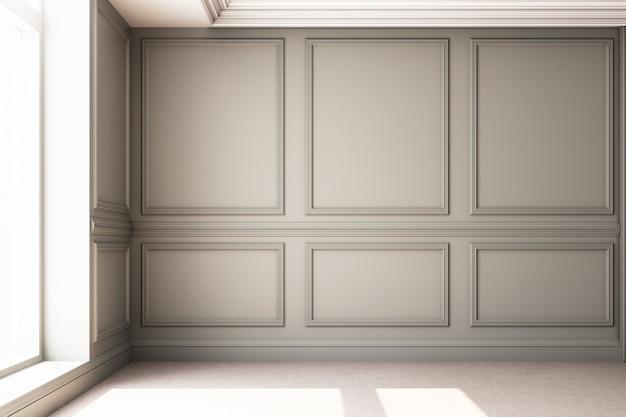 Illustration de rendu 3d du salon avec panneau mural classique de luxe