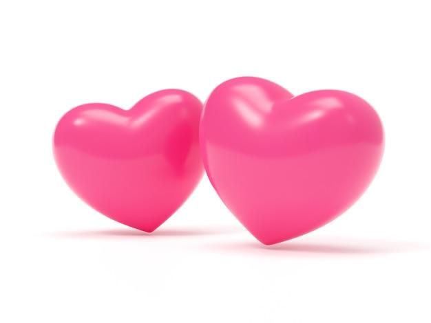 Illustration de rendu 3d de grandes formes de coeur rose sur fond blanc, ombre douce, symbole de l'amour, conception réaliste. élément isolé pour le mariage et la saint-valentin.