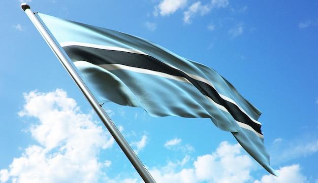Illustration de rendu 3d haute résolution du drapeau du botswana avec un fond de ciel bleu