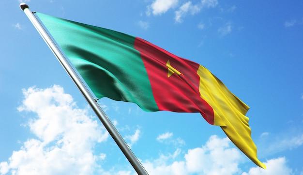 Illustration de rendu 3d haute résolution du drapeau du cameroun avec un fond de ciel bleu