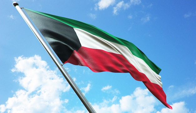 Illustration de rendu 3d haute résolution du drapeau du koweït avec un fond de ciel bleu