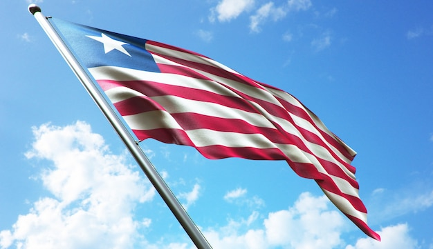 Illustration de rendu 3d haute résolution du drapeau du libéria avec un fond de ciel bleu