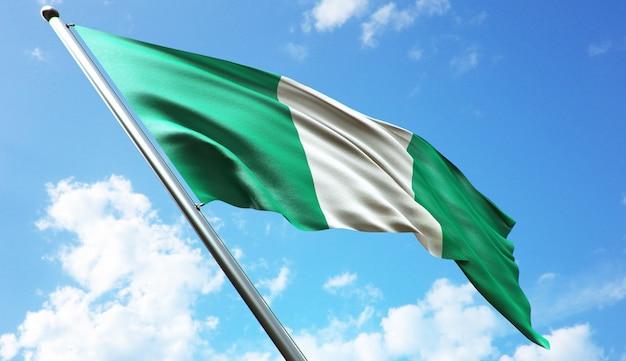 Illustration de rendu 3d haute résolution du drapeau du nigeria avec un fond de ciel bleu