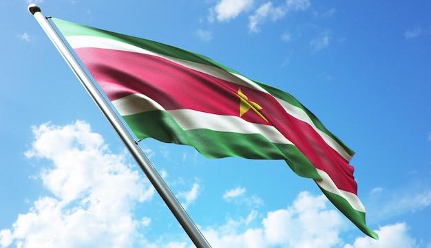 Illustration de rendu 3d haute résolution du drapeau du suriname avec un fond de ciel bleu