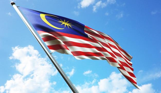 Illustration de rendu 3d haute résolution du drapeau de la malaisie avec un fond de ciel bleu