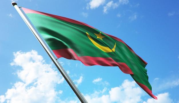 Illustration de rendu 3d haute résolution du drapeau de la mauritanie avec un fond de ciel bleu