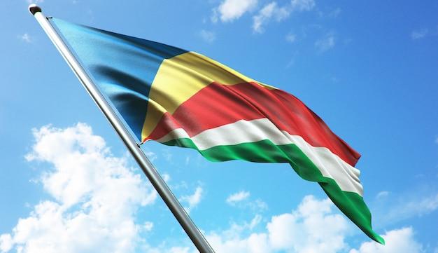 Illustration de rendu 3d haute résolution du drapeau des seychelles avec un fond de ciel bleu