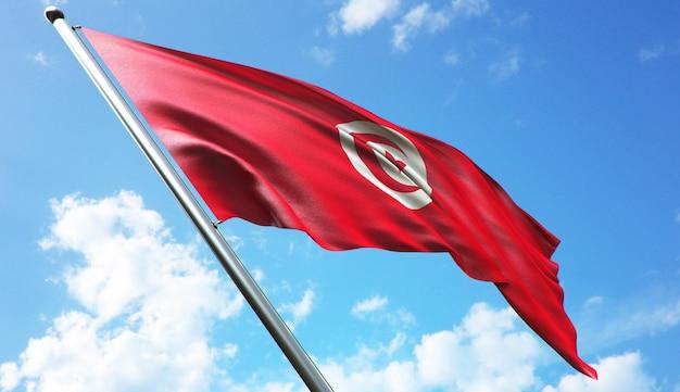 Illustration de rendu 3d haute résolution du drapeau de la tunisie avec un fond de ciel bleu