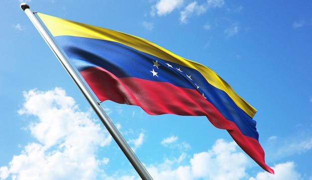 Illustration de rendu 3d haute résolution du drapeau vénézuélien avec un fond de ciel bleu