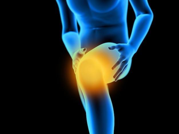 Illustration de rendu 3d d'un homme ayant un genou douloureux
