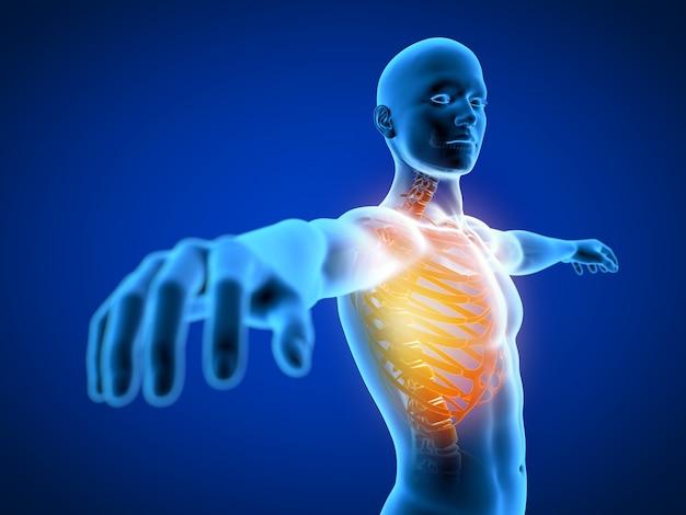 Illustration de rendu 3d d'un homme ayant une poitrine douloureuse