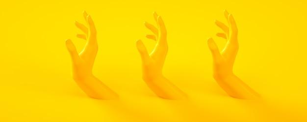 Illustration de rendu 3d de mains jaunes. parties du corps humain.