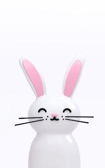 Illustration de rendu 3d de mignon lapin kawaii de vacances de pâques blanc. fond d'écran drôle animal lumineux.