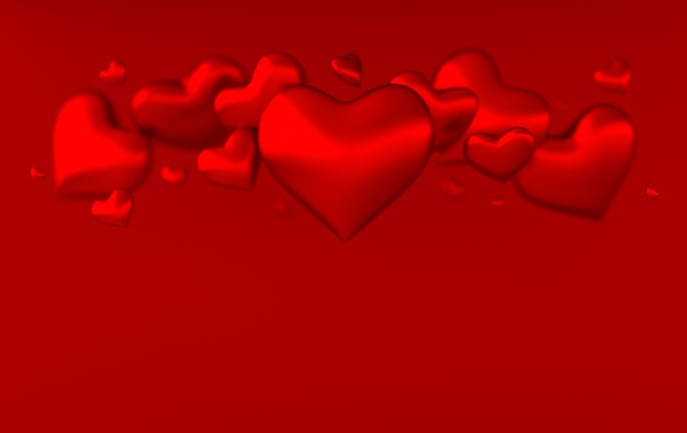 Illustration de rendu 3d motif de fond coeurs saint-valentin