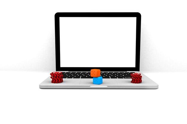 Illustration de rendu 3d. ordinateur portable casino en ligne. concept de jeu de jeu en ligne ordinateur portable internet.