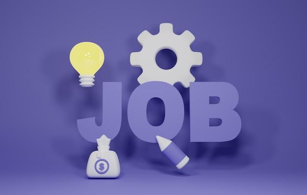 Illustration de rendu 3d de recrutement d'emploi. bon pour la bannière et les médias sociaux