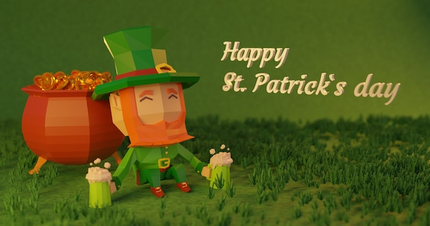 Illustration de rendu 3d de la saint-patrick, personnage de dessin animé low poly reposant à côté d'un chaudron plein de pièces avec de la bière dans ses mains