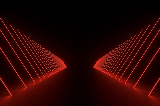 Illustration de rendu 3d. sci fi futuriste chambre vide sombre avec néon brillant.