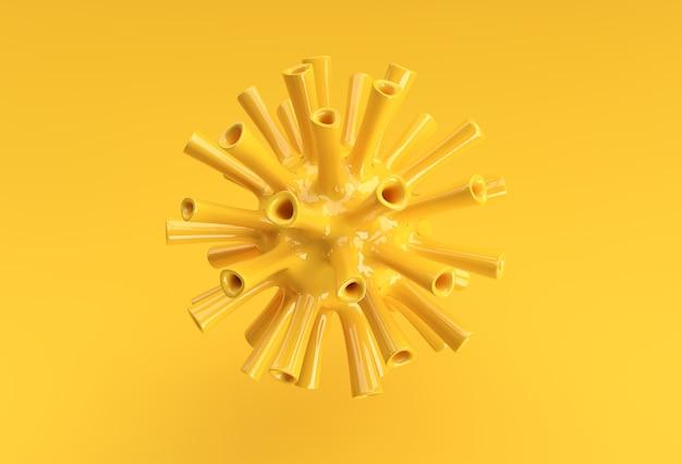 Illustration de rendu 3d virus de la grippe corona flottant dans la conception de vue microscopique fluide.