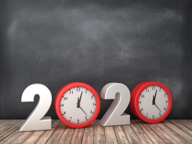 Illustration de rendu de l'année 2020 avec horloge sur tableau noir