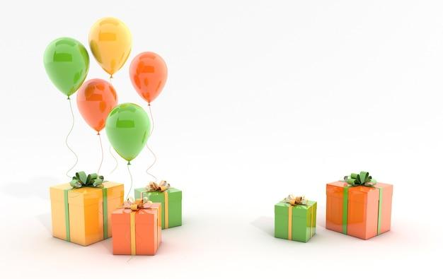 Illustration de rendu de ballons colorés réalistes et boîte-cadeau