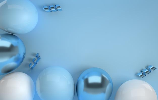 Illustration de rendu de confettis de ruban ballons bleus et blancs brillants réalistes