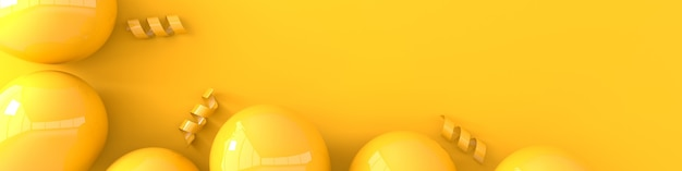 Illustration de rendu de confettis de ruban de ballons jaunes brillants réalistes
